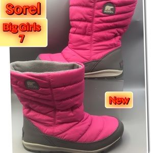 Sorel Pink Big Girls Waterproof Boots New